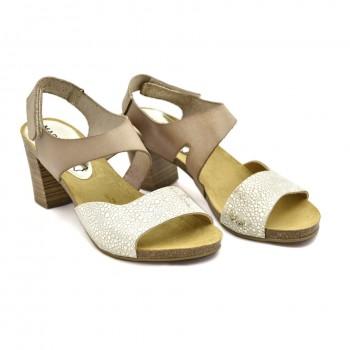 Mariettas 7130 beżowo srebrne sandały