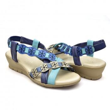 Niebiesko błękitne sandałki hiszpańskie na koturnie 20754