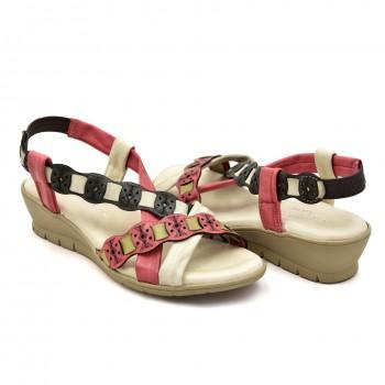 Czerwone beżowo sandałki hiszpańskie na koturnie 20754