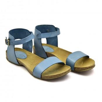 Niebieskie letnie buty na płaskiej podeszwie Hiszpańskie Sandały SPK Shoes 927 Niebieskie