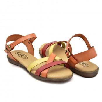 Czerwono-pomarańczowe-żółte płaskie sandałki