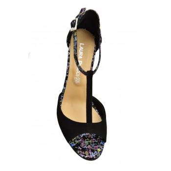 Prestiżowe buty z odkrytym palcem Sandały Laura Piacci 1916 Czarne