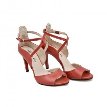 eleganckie na szpilce czerwone sandały     senso 1660