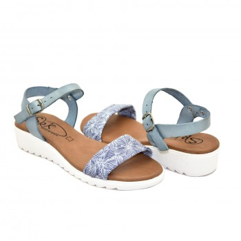 bardzo miękkie na niskiej koturęce hiszpańskie sandały niebiesko-białe 9226
