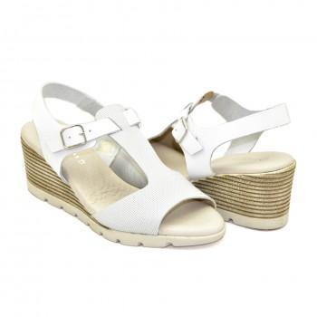 Białe Hiszpańskie Sandały Vaquetillas 20712