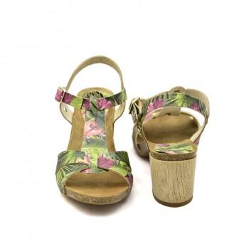 Modne i stylowe sandały na małym obcasie Vaquetillas 20654 Zielone + Kwiaty