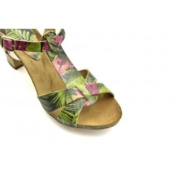 Prestiżowe letnie sandały na każdą okazję Vaquetillas 20654 Zielone + Kwiaty