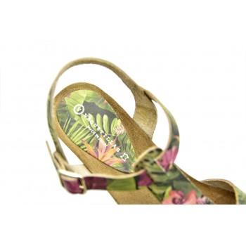 Miękkie i wygodne letnie sandały Vaquetillas 20654 Zielone + Kwiaty