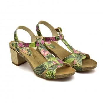 Hiszpańskie Sandały Vaquetillas 20654 Zielone + Kwiaty