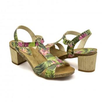 Hiszpańskie Sandały na niewysokim obcasie Vaquetillas 20654 Zielone + Kwiaty