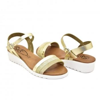 bardzo miękkie na niskiej koturęce hiszpańskie sandały złote 9226