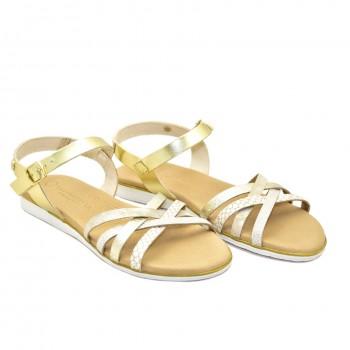 Miękkie skórzane płaskie sandałki damskie Hiszpańskie Sandały Vaquetillas 20696 Złote