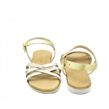 Codzienne idealne na upał Hiszpańskie Sandały Vaquetillas 20696 Złote