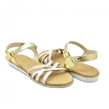 Zapinane wkoło kostki płaskie sandały damskie do pracy na co dzień i na wakacje Hiszpańskie Sandały Vaquetillas 20696 Złote