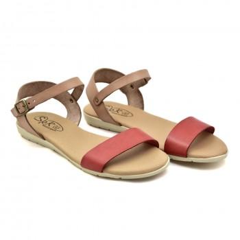 Miękkie wygodne Hiszpańskie sandałki Hiszpańskie Sandały SPK Shoes 9240/F Czerwono-Beżowe