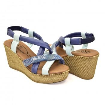 Hiszpańskie Sandały SPK Shoes 9341/F Niebieski-Biały na koturnie