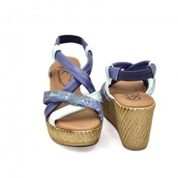 Idealne na co dzień i na plaże Hiszpańskie Sandały SPK Shoes 9341/F Niebieski-Biały