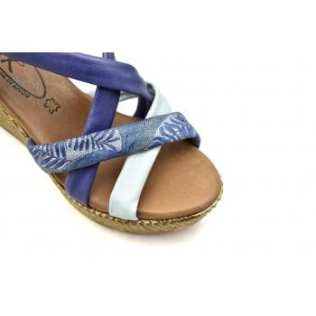 lekkie skórzane Hiszpańskie Sandały SPK Shoes 9341/F Niebieski-Biały