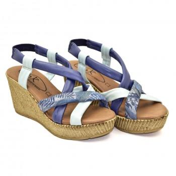 Miękkie stabilne na wyższej koturnie Hiszpańskie Sandały SPK Shoes 9341/F Niebieski-Biały