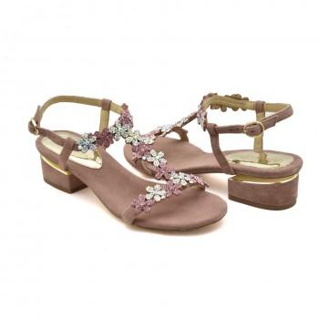 Damskie buty na niskim obcasie Hiszpańskie Sandały Alma en Pena V19734 Róż