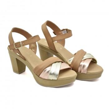 Lekkie wygodne Sandały Vaquetillas 20682 Brązowe-Srebrne