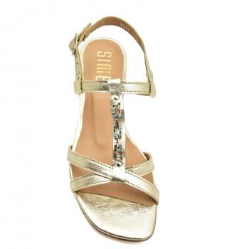 Miękkie wygodne stabilne zdobione cyrkoniami sandałki Sandały Simen 1549A Złote