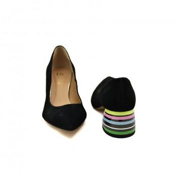 Czółenka Ulmani Shoes 19502 Czarne zamszowe