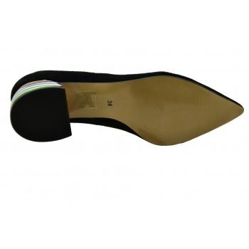 Czółenka Ulmani Shoes 19502 Czarne zamszowe na niewysokim obcasie kolorowym
