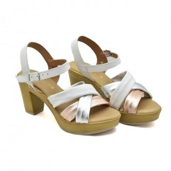 Sandały Vaquetillas 20682 Biały+Róż+Srebro