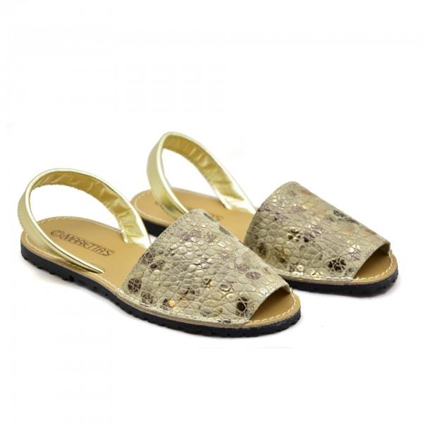 Płaskie sandały Złote kwiaty Mariettas 550