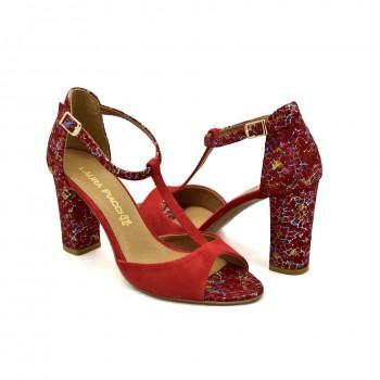 Sandały z piątą zapinane wokół kostki Laura Piacci 1916 Czerwone