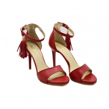 Stylowe sandały kati czerwone z krytą piętą zapinane wkoło kostki
