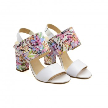 Eleganckie Sandały Damiss DS-194 A Białe Lico/Kolorowe Kwiaty