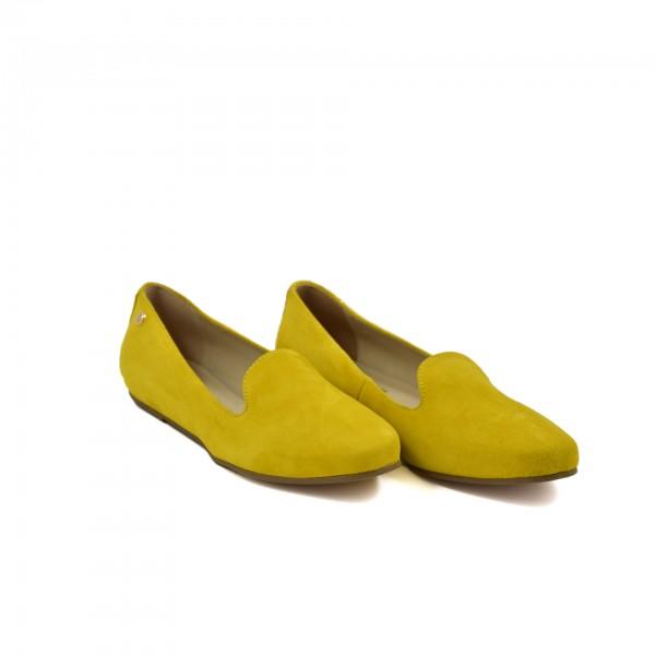 Lekkie miękkie wygodne żółte zamszowe mokasyny Laura Piacci