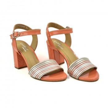Eleganckie zapinane wkoło kostki pomarańczowe sandały eksbut 5597