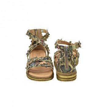Wygodne na niewysokiej koturence miękkie idealne na długie spacery sandały simen