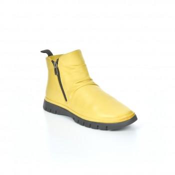 miękkie lekko ocieplane botki żółte na dwa zamki manitu
