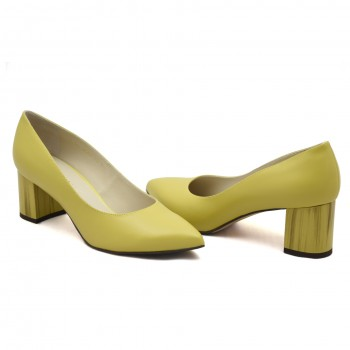 Eleganckie czółenka Anis 3680 musztardowe