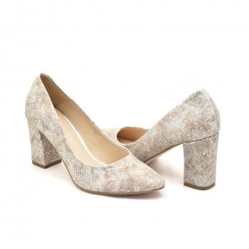 Buty eleganckie skórzane wyjściowe Damiss DS-43 na stabilnym obcasie